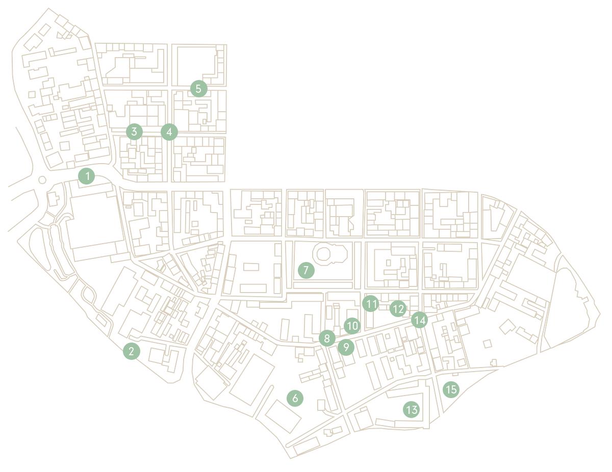 Eine Kartenansicht der Südlichen Innenstadt